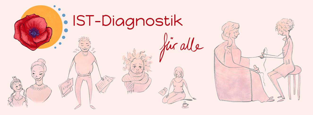 IST-Diagnostik Michaela Schaaf. Niedergeschlagener Mann, ständig erkältete Frau, eine Therapeutin mit Patientin bei der IST-Störfaktoren-Suche